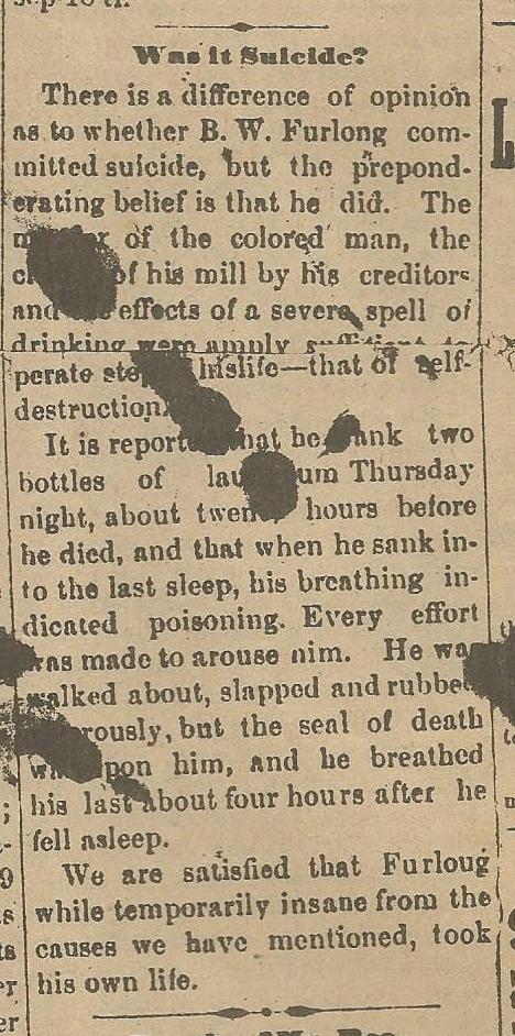 Alapaha Star, October 2, 1886 questions death of Ben Furlong