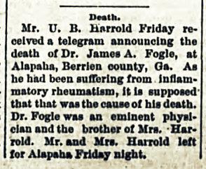 Death of Dr. James A. Fogle, 1888.