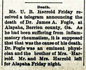 Death of Dr. James A. Fogle, 1888.