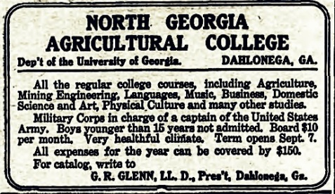1910 Valdosta Times advertisement for North Georgia Agricultural College.
