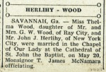 Southern Cross, June 29, 1946. Thelma Wood, of Ray City, GA marries John Herlihy