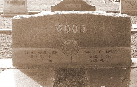 Grave of George Washington Wood and Fannie Lou Taylor Wood, Beaver Dam Cemetery, Ray City, GA.