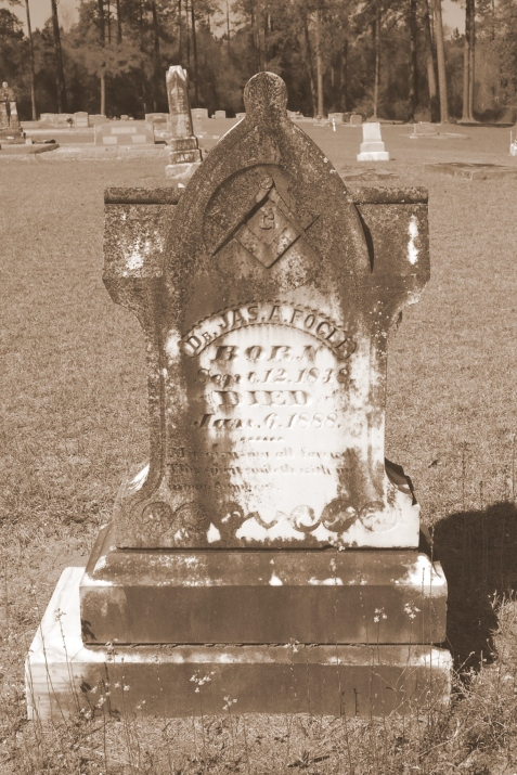 Grave of Dr. James A. Fogle, Fletcher Cemetery, Alapaha, GA. Image source: D & D Fletcher
