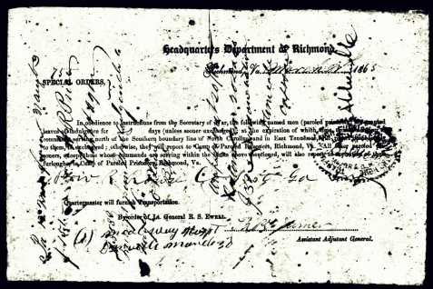 Federal parole of Robert O. Rouse, Confederate Prisoner of War, March 27, 1865.