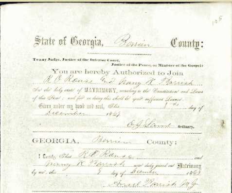 Marriage certificate of Robert O. Rouse and Mary K. Parrish