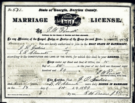 Marriage Certificate of Gideon D. Gaskins and Lula R. Clements, October 17, 1886, Berrien County, GA