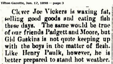 1898 personal mention of Gid Gaskins, merchant of Willacoochee, GA