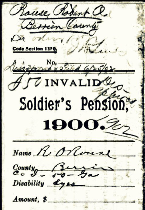 Georgia Invalid Soldier's Pension Application submitted by Robert O. Rouse, Berrien County, GA.