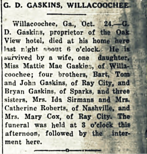 Death of Gideon D. Gaskins reported in the Tifton Gazette