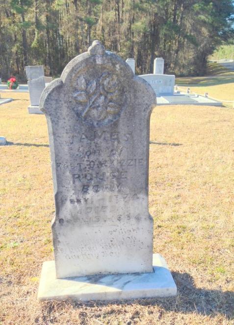 Grave of James Rouse (1874-1884), son of Robert O. Rouse. Empire Cemetery, Lanier County, GA