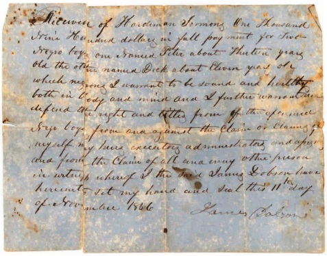 1856 Slave Bill of Sale<br> Bill of Sale from James Dobson to Hardeman Sirmans for tw.o slave boys, Dick and Peter, dated November 11, 1856. Image courtesy of the Berrien County Historical Foundation.