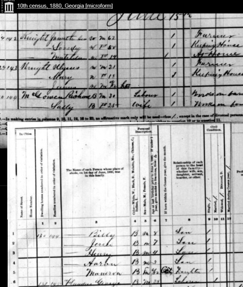 1880 Census enumeration of Richard McGowen and family, 1144 Georgia Militia District, Berrien County, GA