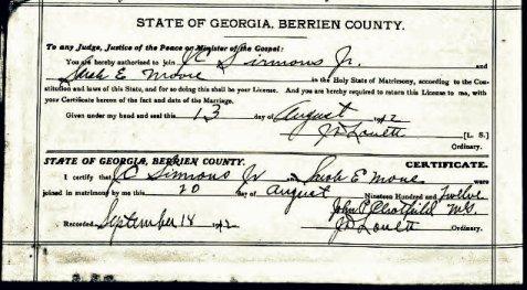 Marriage certificate of John C. Sirmans and Sarah Estelle Moore, August 12, 1912, Berrien County, GA