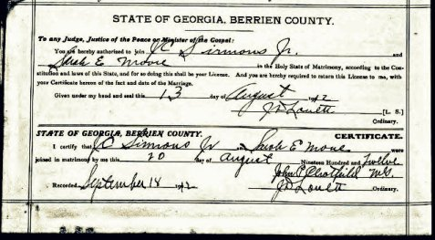 Marriage certificate of John C. Sirmans and Sarah Estelle Moore, August 12, 1912, Berrien County, GA