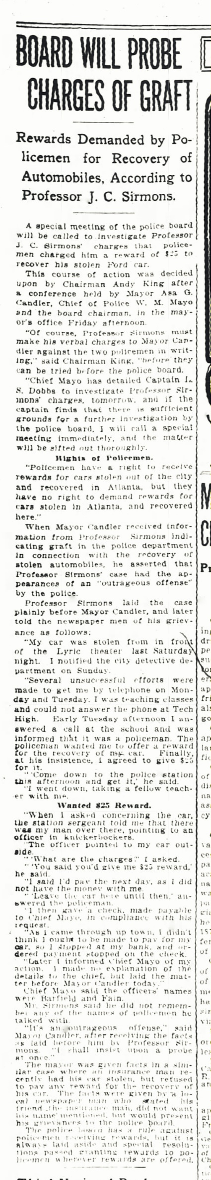 February 23, 1917 Atlanta Constitution reports charges of police graft brought by John C. Sirmons