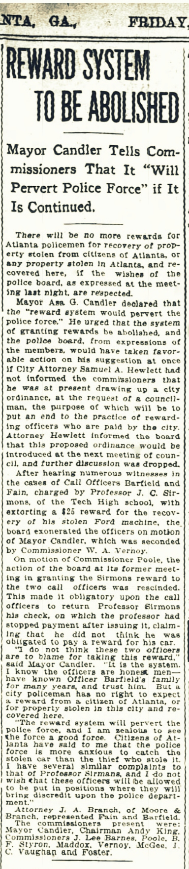 "Atlanta police practice of charging a ""reward"" to return stolen property to victims, reported Atlanta Constitution, February 23, 1917."