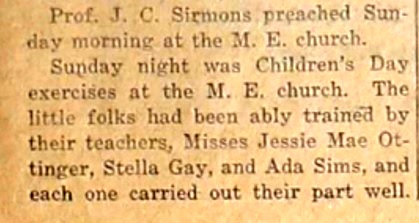 Cherokee Locals - Professor John C. Sirmons preached at the Methodist Episcopal Church, Cherokee, TX, June 21, 1917.