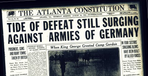 Atlanta Constitution August 22, 1918 reports route of German army as Georgia soldiers parade before King George.