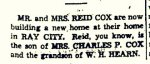 Hazel Hall Cox and Reid Hearn Cox became Ray City homeowners in 1939.