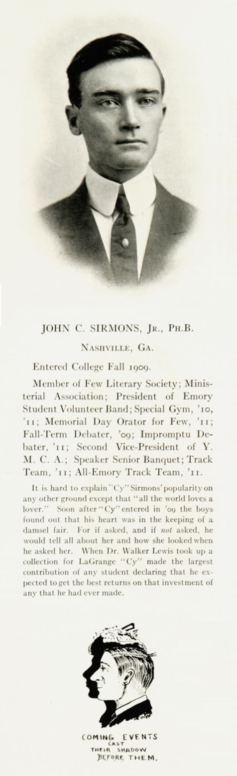 John C. Sirmans senior photo, Emory University, Class of 1912.