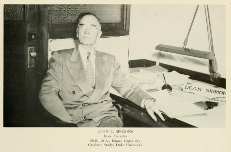 John C. Sirmons, 1951, Dean Emeritus, North Georgia College. Sirmons was a native of Berrien County, GA.