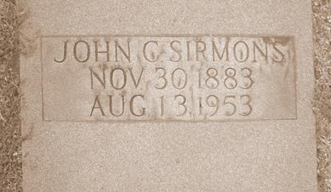 Grave of John C. Sirmons, Mount Hope Cemetery, Dahlonega, GA.