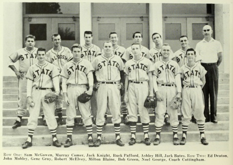Jack Knight on the 1955 Valdosta State College baseball team.