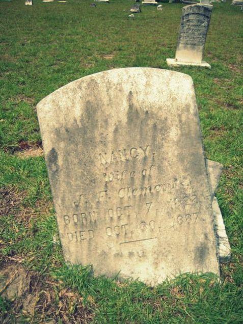 Grave of Nancy Patten Clements, wife of John Franklin Clements. Union Church Cemetery, Lanier County, GA.