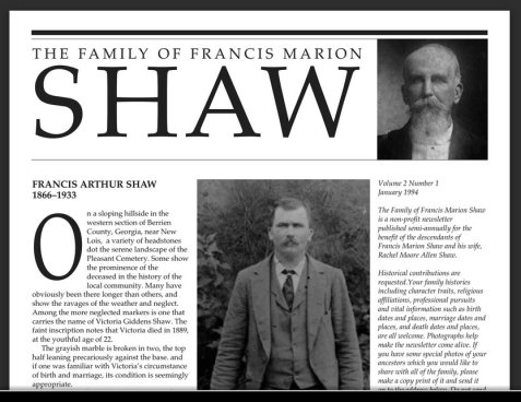 Shaw Family Newsletter: FRANCIS ARTHUR SHAW 1866–1933