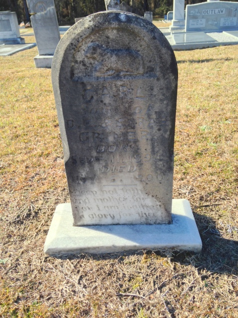 Grave of Carl Griner, born September 11, 1894; died November 5, 1900; buried Empire Church Cemetery, Lanier County, GA