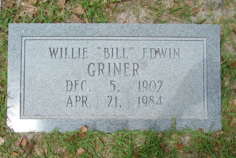 "Grave of Willie ""Bill"" Edwin Griner, born December 5, 1902; died April 21, 1984, buried New Ramah Cemetery, Ray City, GA. Image source: Robert Strickland"