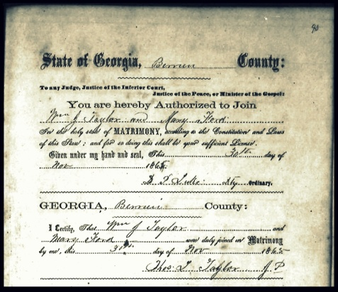 William J. Taylor, Sr and Mary Ford, Certificate of Marriage, November 3, 1865, Berrien County, GA