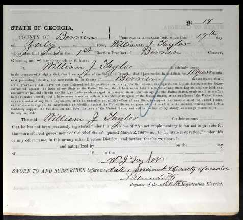 In 1867 William J. Taylor signed an oath of allegiance to the United States and sought to have his civil rights restored.