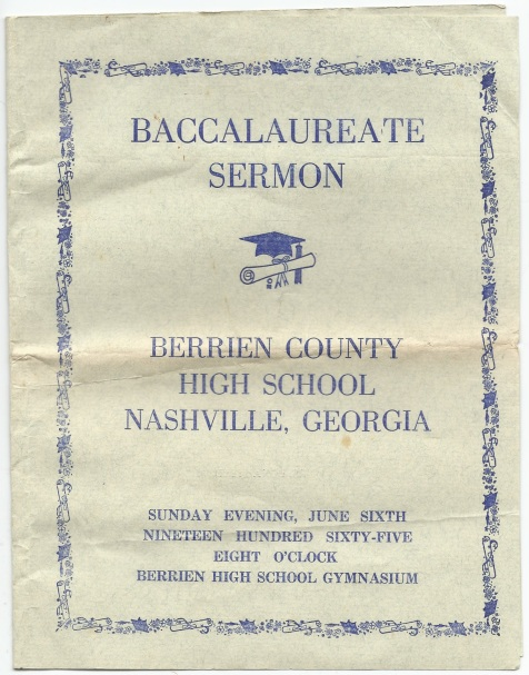 1965 Baccalaureate Sermon, Berrien County High School, Nashville, GA.