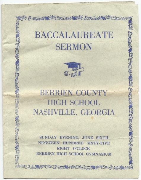 1965 Baccalaureate Sermon, Berrien County High School, Nashville, GA.