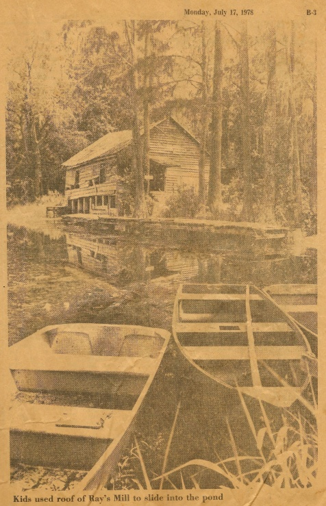 1978 photograph of Ray's Mill, Ray City, GA