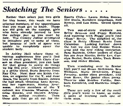 "October 4, 1944 GSWC Campus Canopy mentions petite blond Dorothy ""Doris"" Boyette, of Ray City, GA"