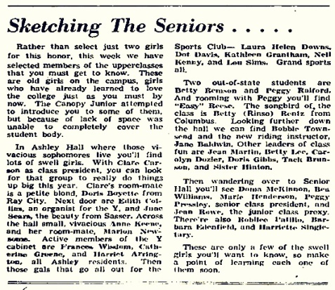 "October 4, 1944 GSWC Campus Canopy mentions petite blond Dorothy ""Doris"" Boyette, of Ray City, GA"