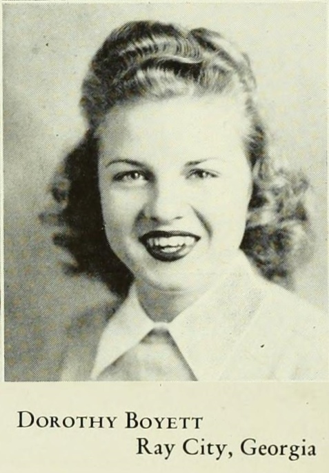 Dorothy Boyett, of Ray City, GA at Georgia State Womans College, Valdosta, GA. 1945