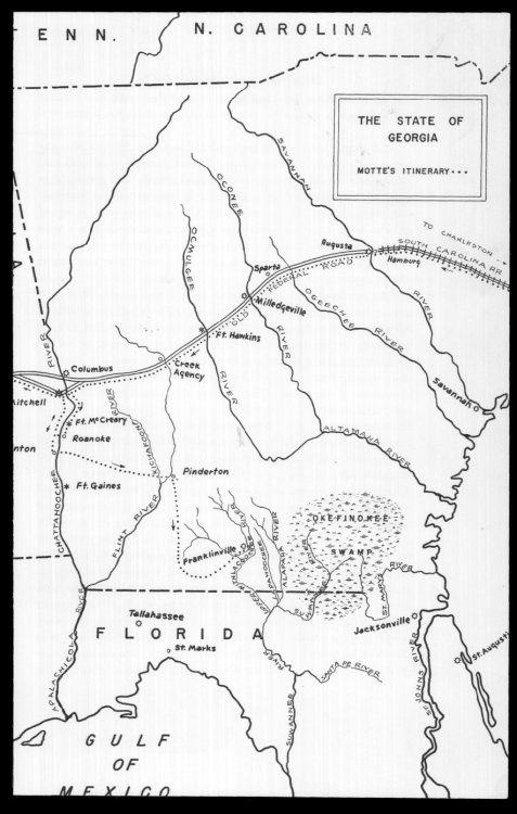 Dr. Jacob Motte's 1836 route to Franklinville, GA