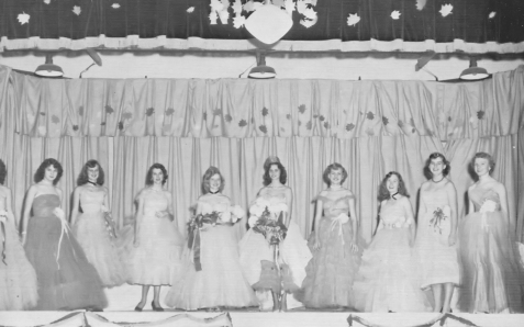 1954 Homecoming Court - photo from Valdosta Daily Times QUEENS AND COURTS – Here are the football and Berrien High School beauty queens and their courts as they appeared recently at a homecoming in Nashville. Left to right are Anelda Baker, Nancy Nix, Joanne Register, Sally Jo Connell, Patricia Carter, football queen, Sue Nix, Miss Berrien High School, Elaine Carter, Imogene Holland, LulaBelle McEuen and Louise Shouse.