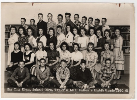 Ray City Elementary School. Mrs. Taylor & Mrs. Patten's Eighth Grade, 1960-61.