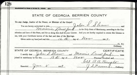 """Marriage certificate of Mary Washington """"Mamie"""" Langford and John Sheffield Shaw."""