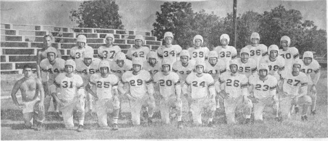 1954 BHS Football Team The Nashville Herald, front page, September 16, 1954 Photo caption: BERRIEN HIGH FOOTBALL SQUAD – After dropping the opening game in Ocilla last Friday night, Berrien high opens the home schedule here Friday (tomorrow) night against Cook high of Adel. The squad, pictured above, reading front row, left to right, Coach Hal Leddy, S.B. Griner, Bobby Vickers, Dothan Bennett, Weyman Vickers, James Whidden, Max Gaskins, Emory Jenerette, Garland McMillan; Center row, left to right, Wendell Garner, Lamar Mathis, Jerry Shaw, Junior Futch, Jerry Eason, Fayne Outlaw, Owen Williams, Carlton Garner, Raymond Stone; back row, left to right, Coach Mitchell Kirkland, Thomas Pace, Gene Gaskins, DeWitt Osborne, Jerry Dryden, Sonny Nix, James Davis, Kenneth Dix, Bobby Joe Giddens. – Photo by Wink Rogers.
