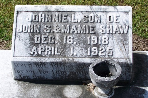 Grave of Johnnie L. Shaw, Beaver Dam Cemetery, Ray City. GA