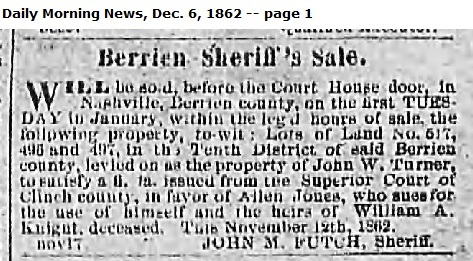 Savannah Daily Morning News, December 6, 1862. Transactions on the estate of William Anderson Knight.