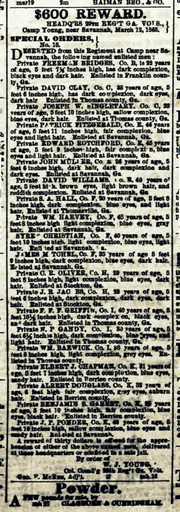 Reward offered for capture of deserters from the 29th Georgia Regiment, Confederate States Army, including four deserters from the Berrien Minute Men, Company K. Advertised in the Savannah Republican newspaper.