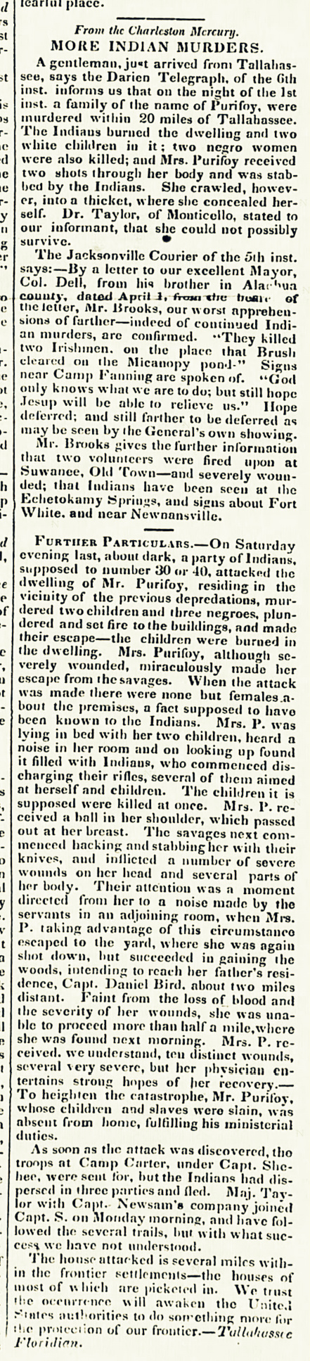 Edgefield Advertiser reports details of the Peurifoy Masacre.