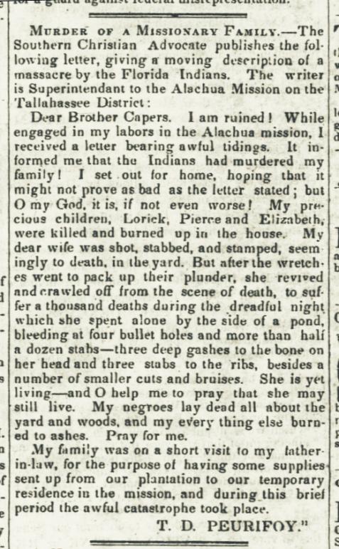 Reverend Tillman D. Peurifoy writes of the massacre of his family, April 1, 1836