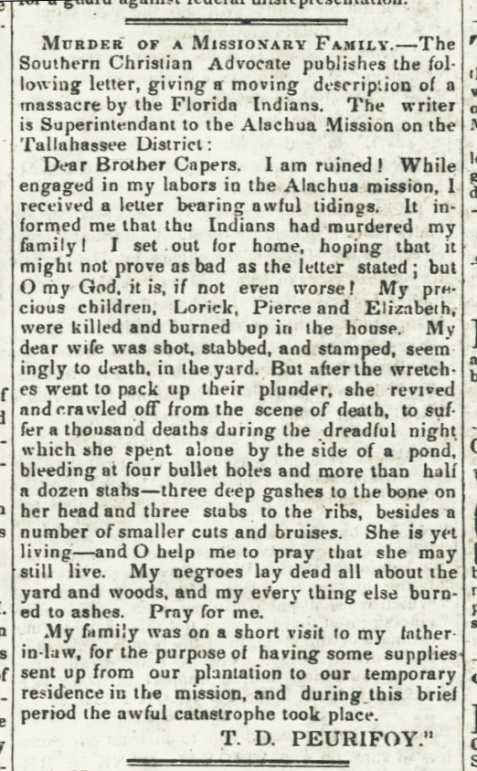 Reverend Tillman D. Peurifoy writes of the massacre of his family, April 1, 1838